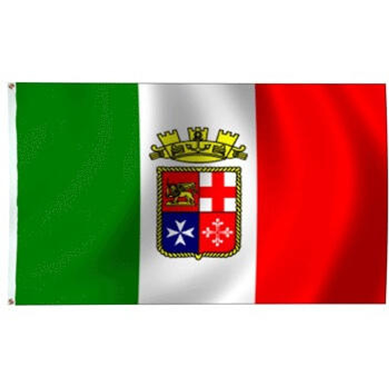 Italian Ensign Flag with shield at center divided into four squares and naval crown on top
