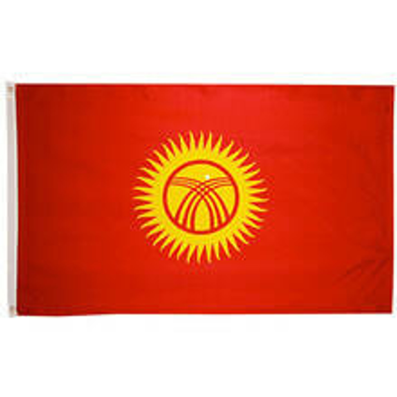 A Kyrgyzstan Flag made of nylon with lock stitching, polyester canvas heading, and brass grommets. Design is a red field charged with a yellow sun with rays. the sun is crossed by two sets of three curved lines.