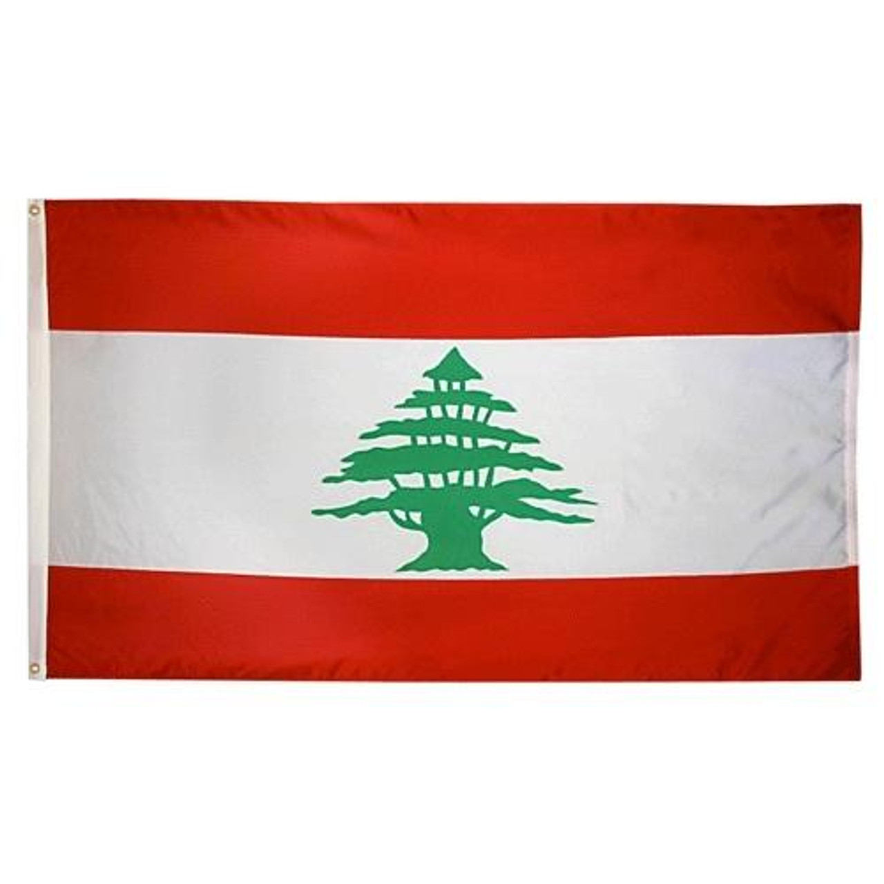 Lebanon flag has red top and bottom border with white field in center and a green Lebanon tree