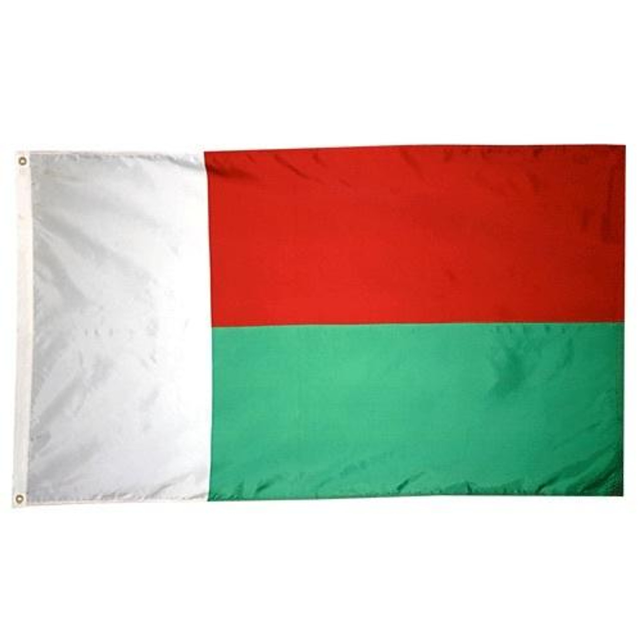 Madagascar Flag with a vertical white stripe at the hoist, horizontal red stripe to the top right, and green stripe on bottom right