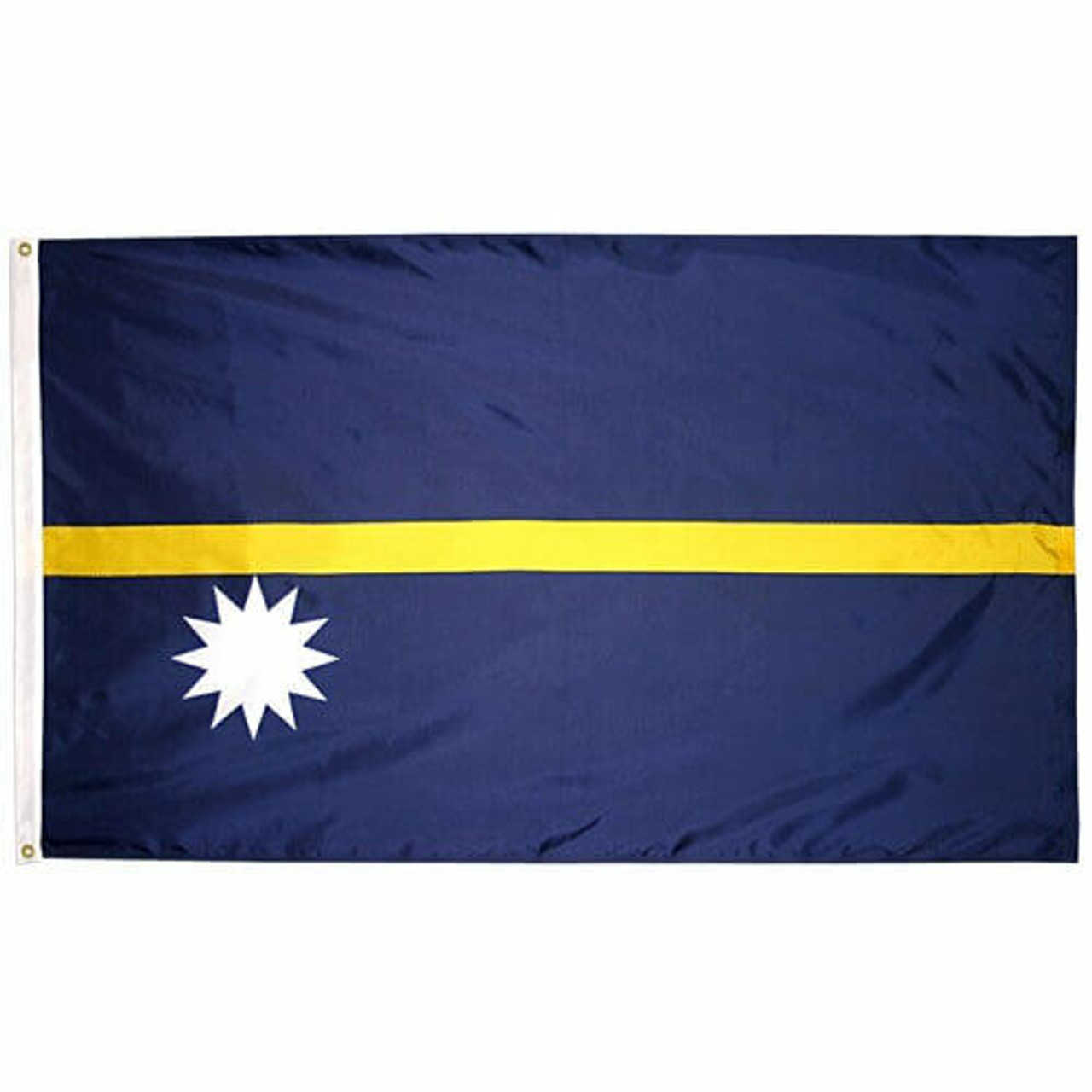 The Nauru flag consists of a blue field with a single horizontal yellow stripe and a 12 pointed white star in the lower hoist corner.