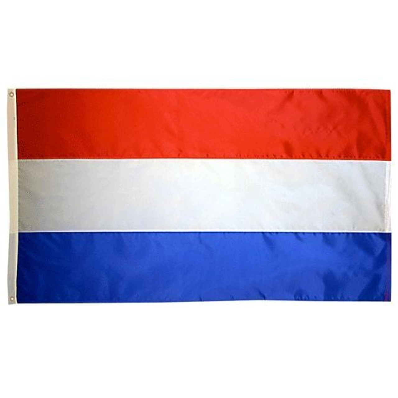 The flag of the Netherlands consists of three horizontal stripes: red over white over blue. On the left side of the flag is a canvas header with brass grommets for easy attachment to flagpoles.