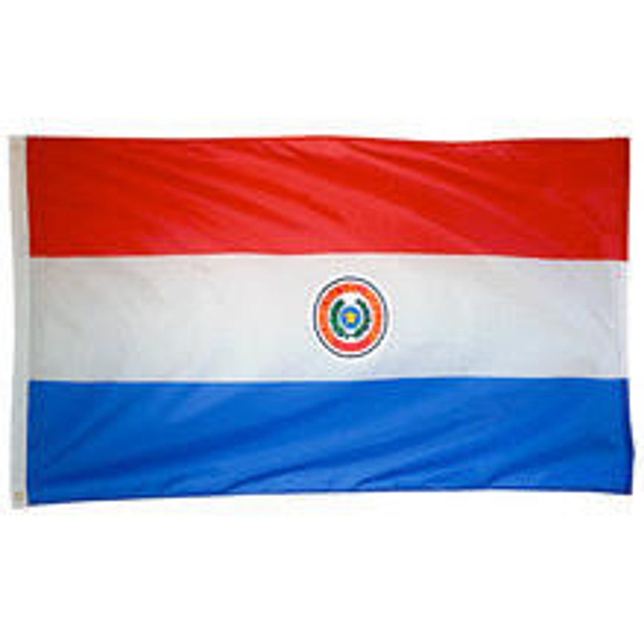 A Paraguay Flag made of nylon with lock stitching, polyester canvas heading, and brass grommets. Design is three horizontal stripes red, white, and blue and a national coat of arms emblem in the center.