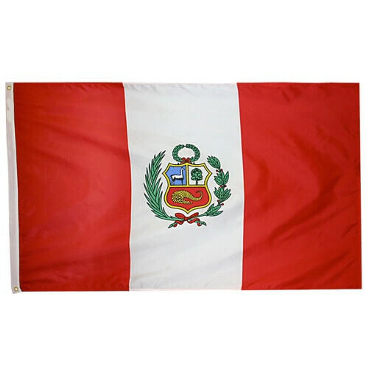 Peru Flag with 2 vertical red stripes at each end and a center white stripe. Center stripe bears Coat of Arms in the center.