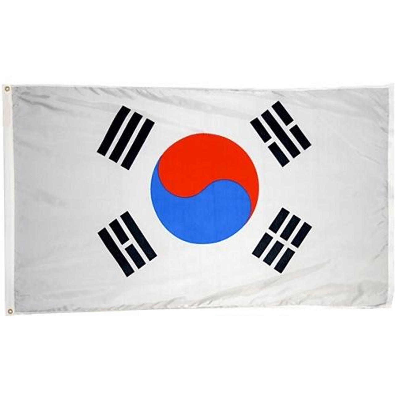 South Korea Flag. The flag of South Korea has three parts: a white rectangular background, a red and blue Taegeuk in its center, and four black trigrams, one in each corner.