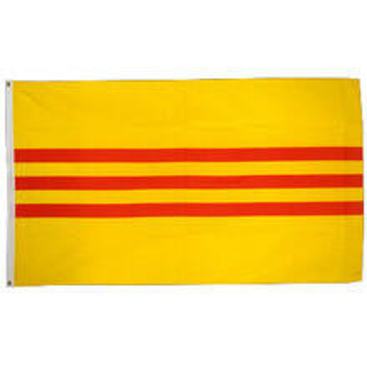 Red and yellow South Vietnam Flag nylon with sewn edges and polyester canvas heading with brass grommets.
