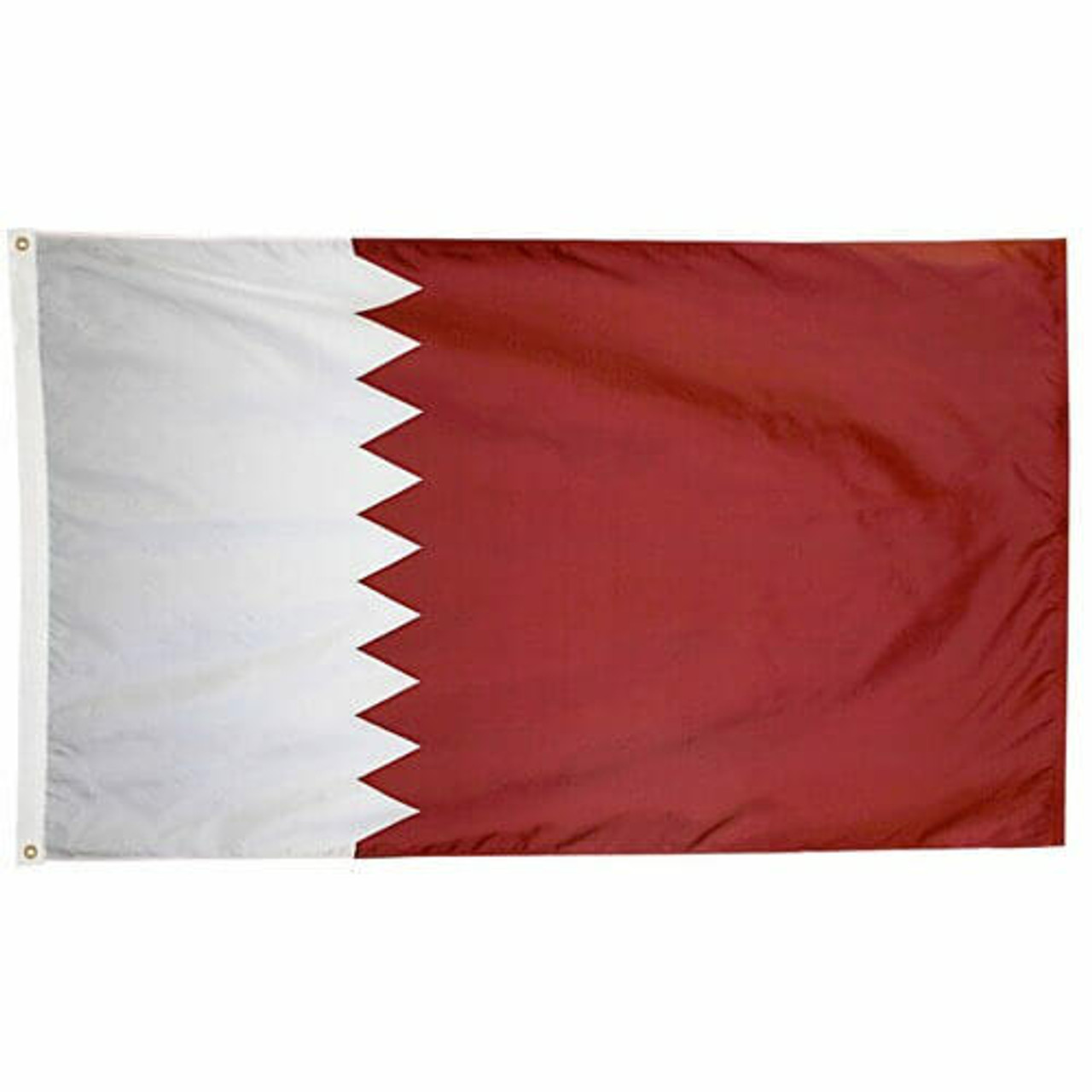 Qatar Flag with narrow white serrated part on hoist side and broad maroon serrated part on fly side