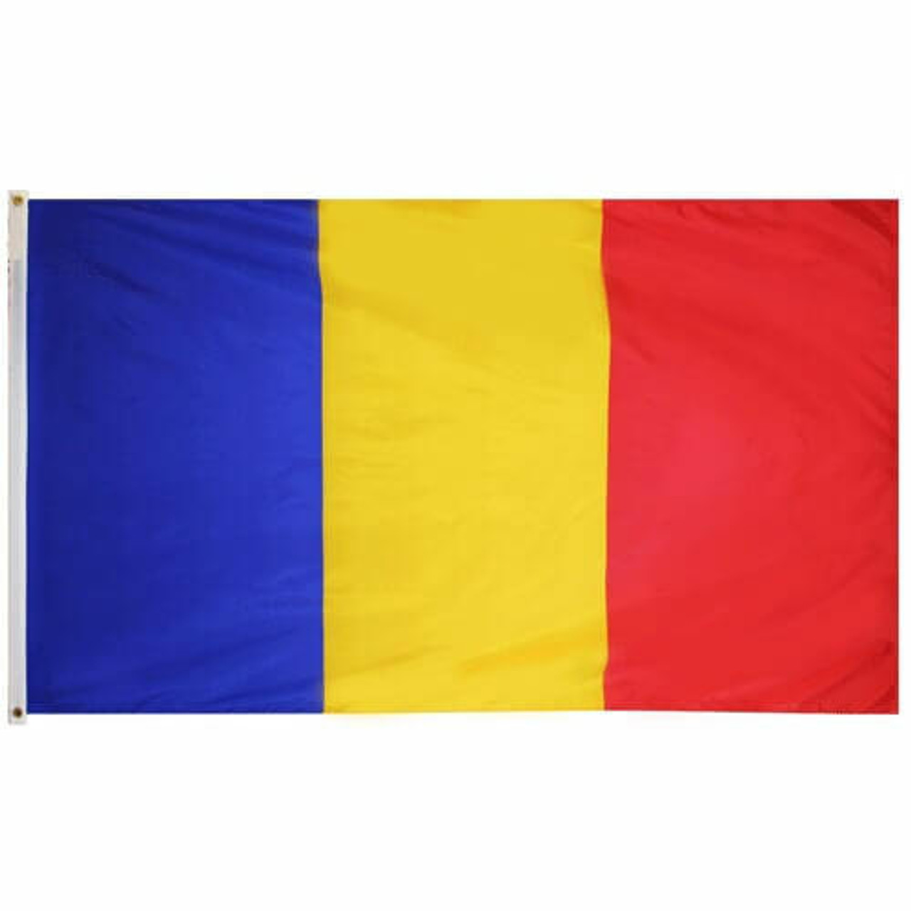 The Romania Flag is a tricolor flag with a blue, yellow, and red vertical stripe.