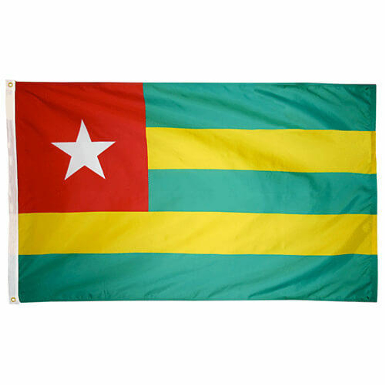 The Togo national flag consists of three horizontal green stripes, offset by two yellow stripes, and a red canton with a large white star.