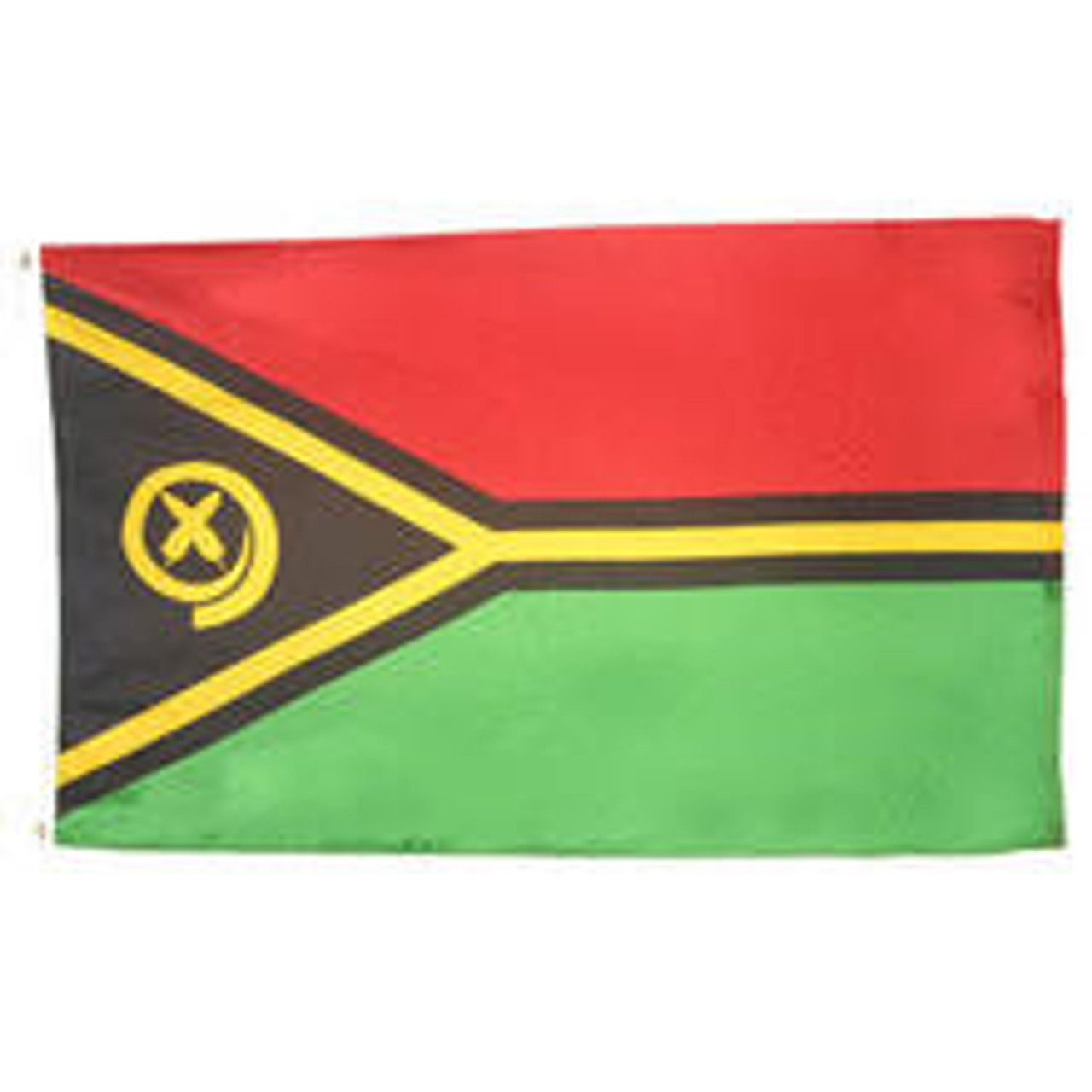 A Vanuatu Flag flag with a design of a horizontal bicolor of red and green with a black isosceles triangle with an emblem of a golden boar tusk and crossed cycad fronds. A gold stripe bordered with black divides the bicolor and borders the triangle.