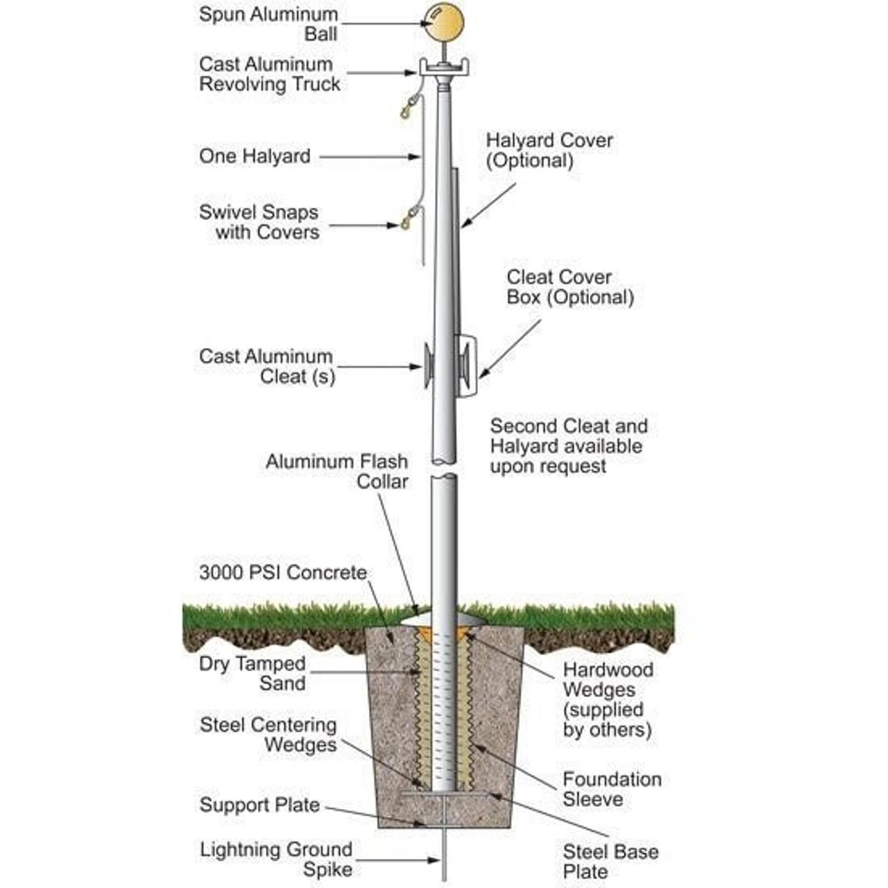 40 External Halyard Flagpole w/ Collar EC40