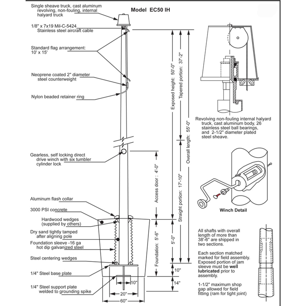 50' Internal Halyard Flagpole w/ Collar (EC50IH)