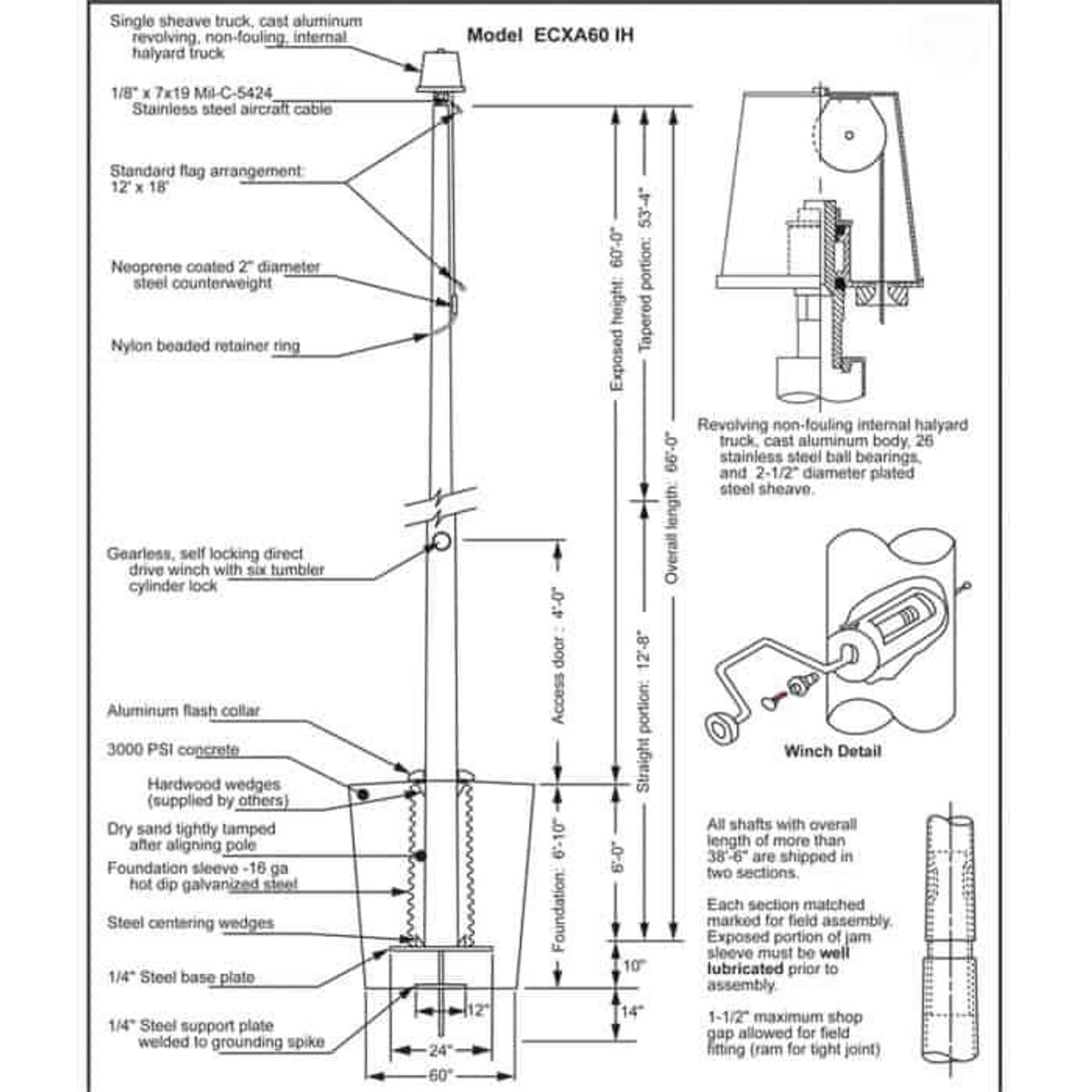 60 Internal Halyard Flagpole w/ Collar EC60IH