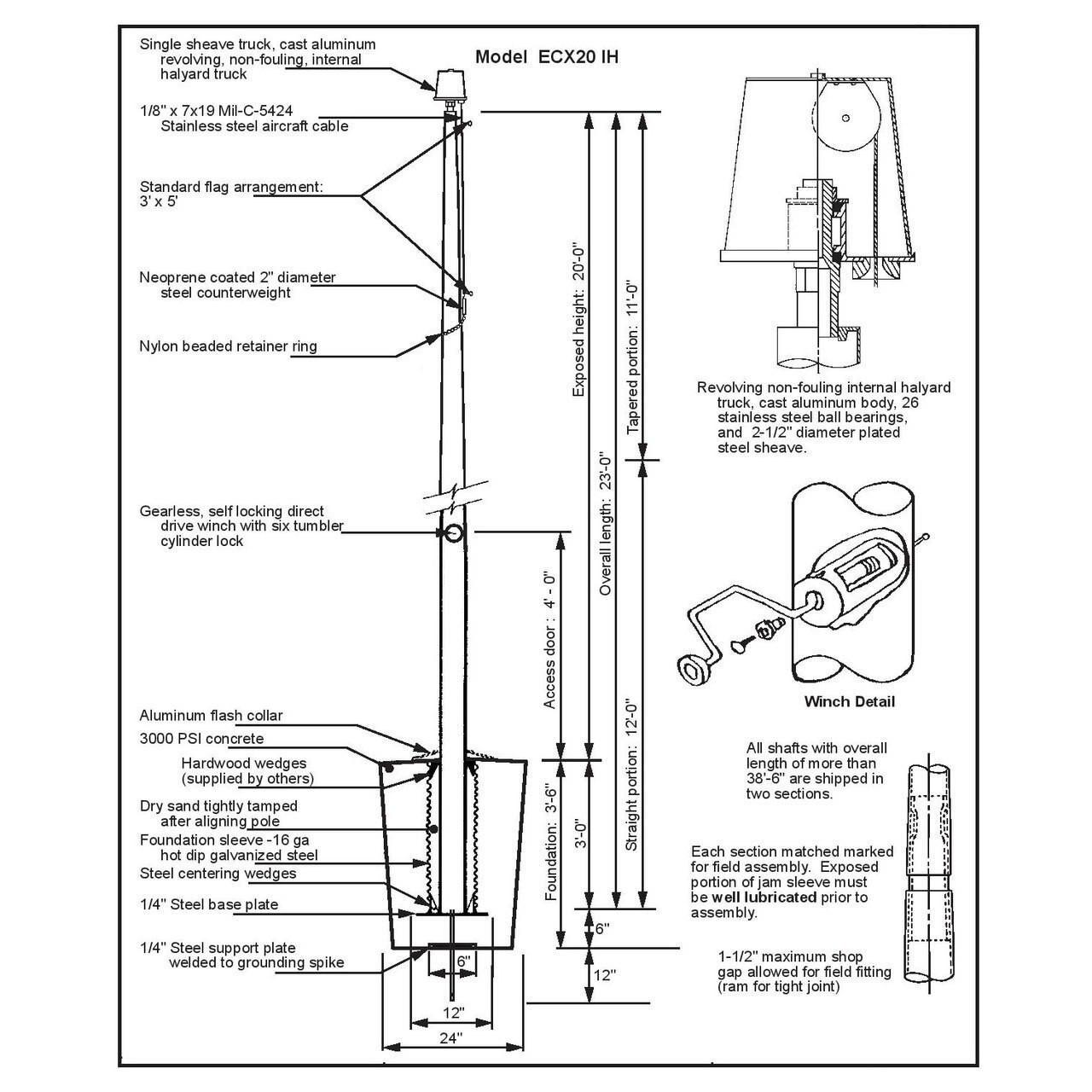 20 Internal Halyard Flagpole w/ Collar ECX20IH