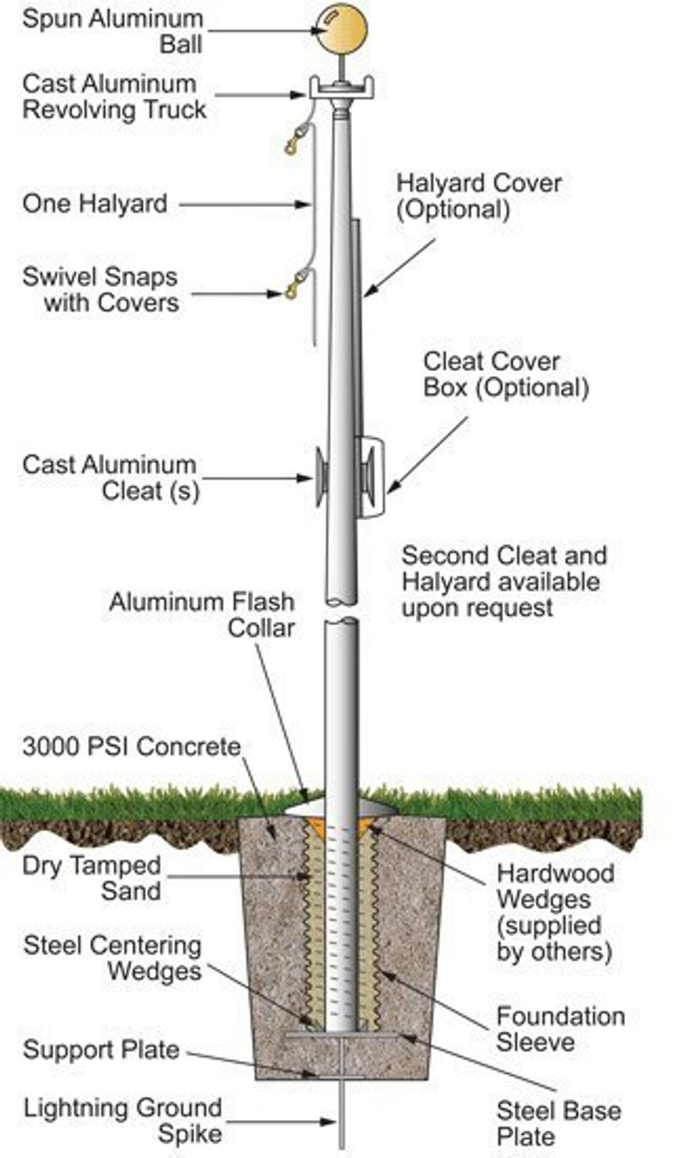 70 External Halyard Flagpole w/ Collar ECX70