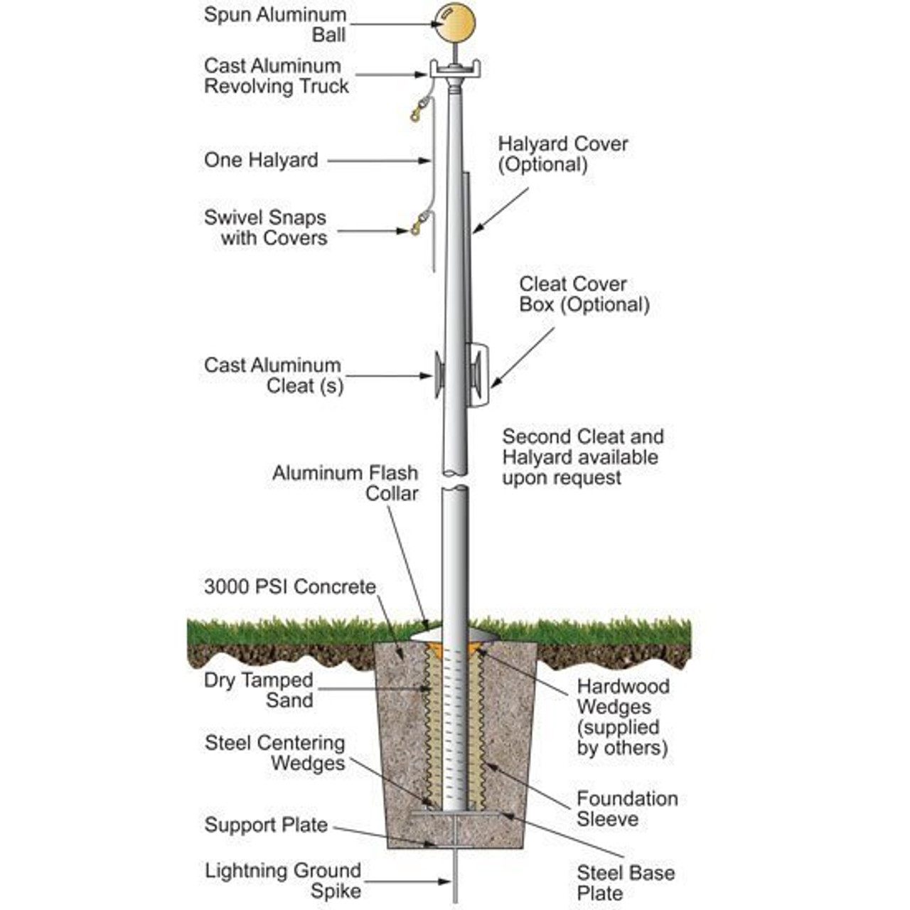 30 External Halyard Flagpole w/ Collar ECH30