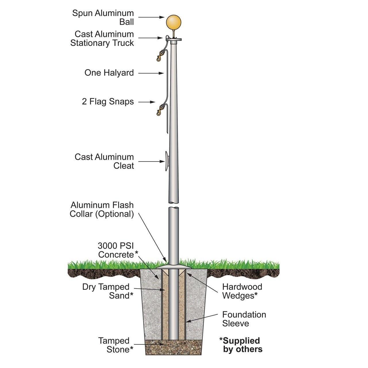 20 External Halyard Flagpole w/ Collar ECS20