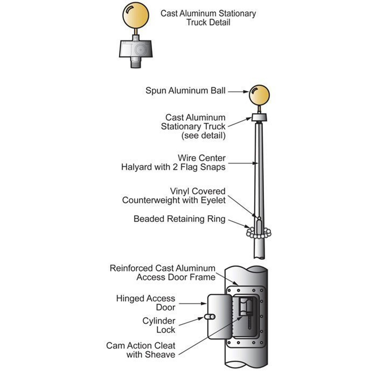20 Internal Halyard Flagpole w/ Collar ECXV20