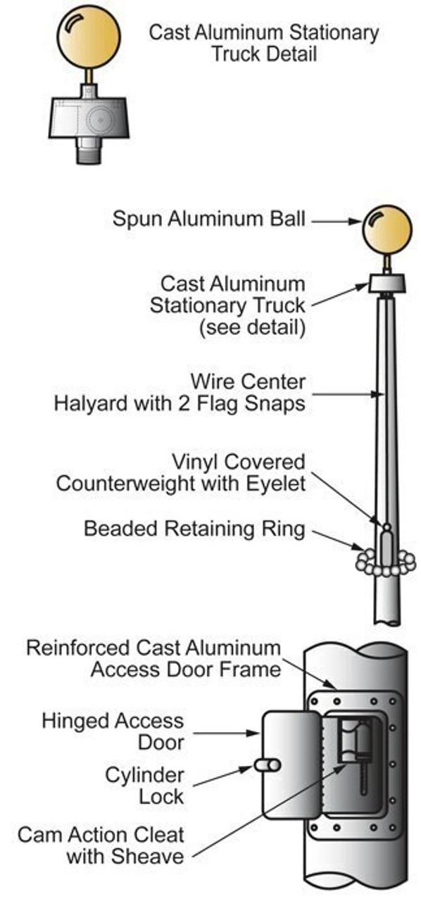 30' Internal Halyard Flagpole w/ Collar (ECXV30)