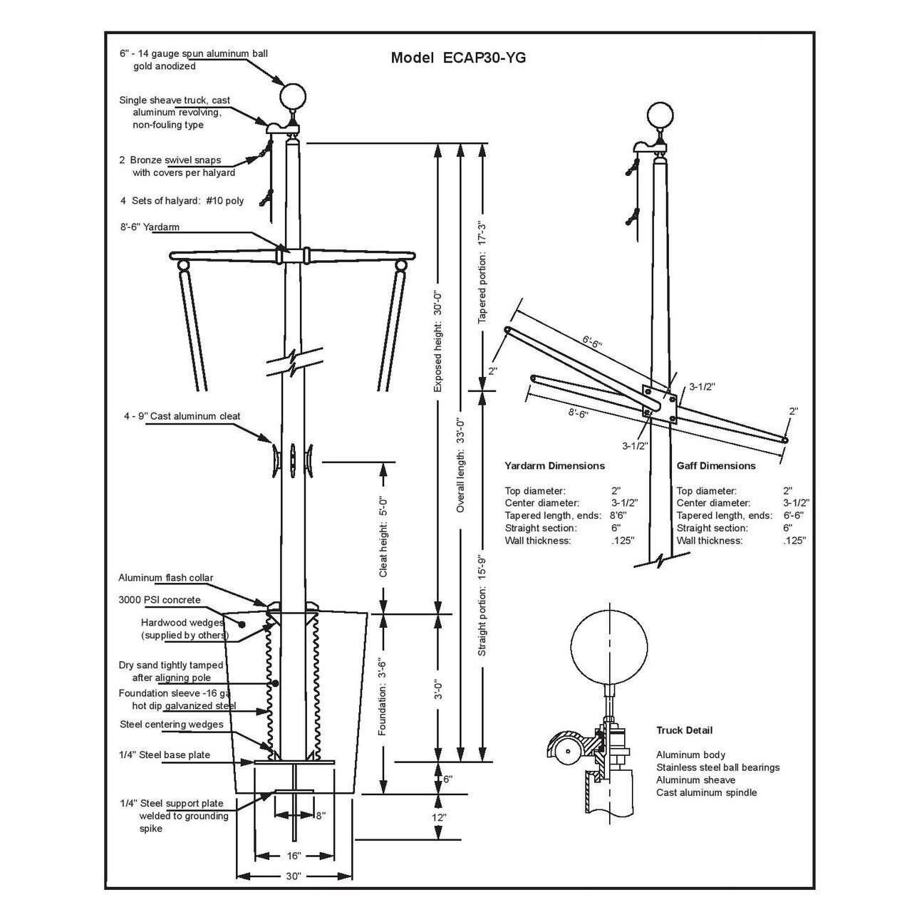 30' Nautical Flagpole w/ Yardarm, Gaff & Collar (ECAP30YG)