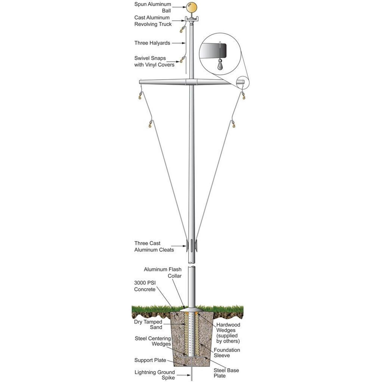 30 Nautical Flagpole w/ Yardarm and Collar ECP30Y