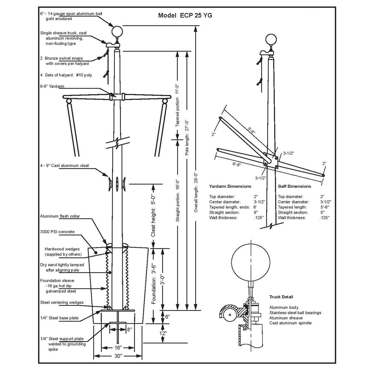 25 Nautical Flagpole w/ Yardarm, Gaff and Collar ECP25YG