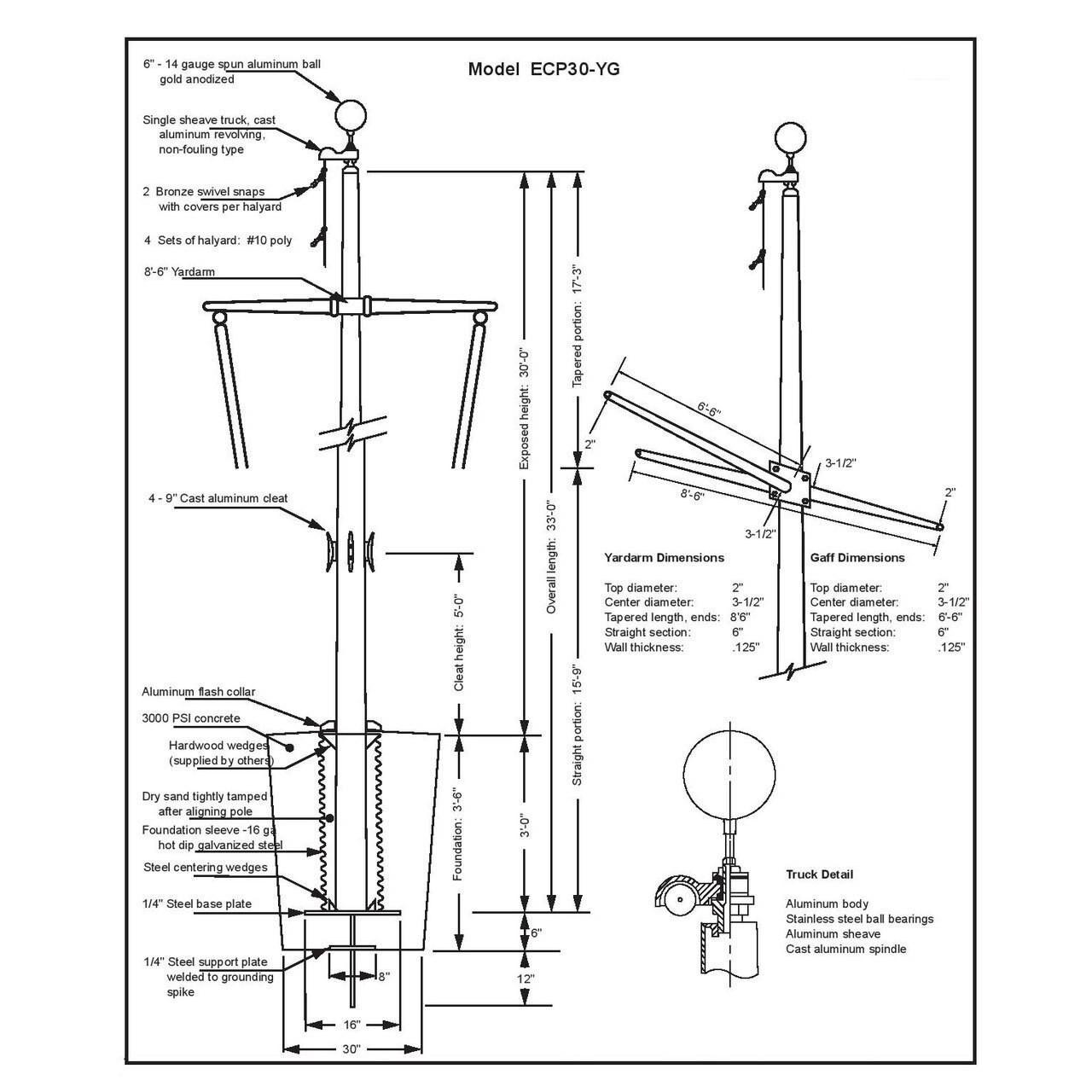 30 Nautical Flagpole w/ Yardarm, Gaff and Collar ECP30YG