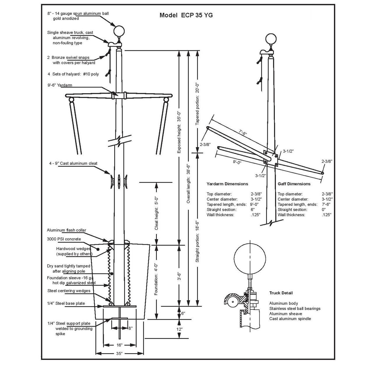 35' Nautical Flagpole w/ Yardarm, Gaff & Collar (ECP35YG)