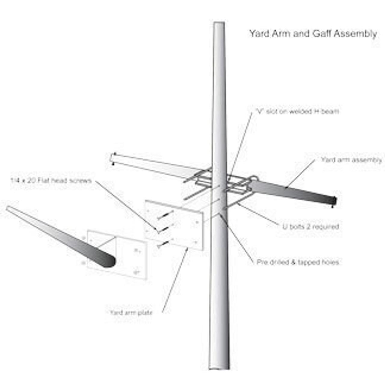 45' Nautical Flagpole w/ Yardarm, Gaff & Collar (ECP45YG)