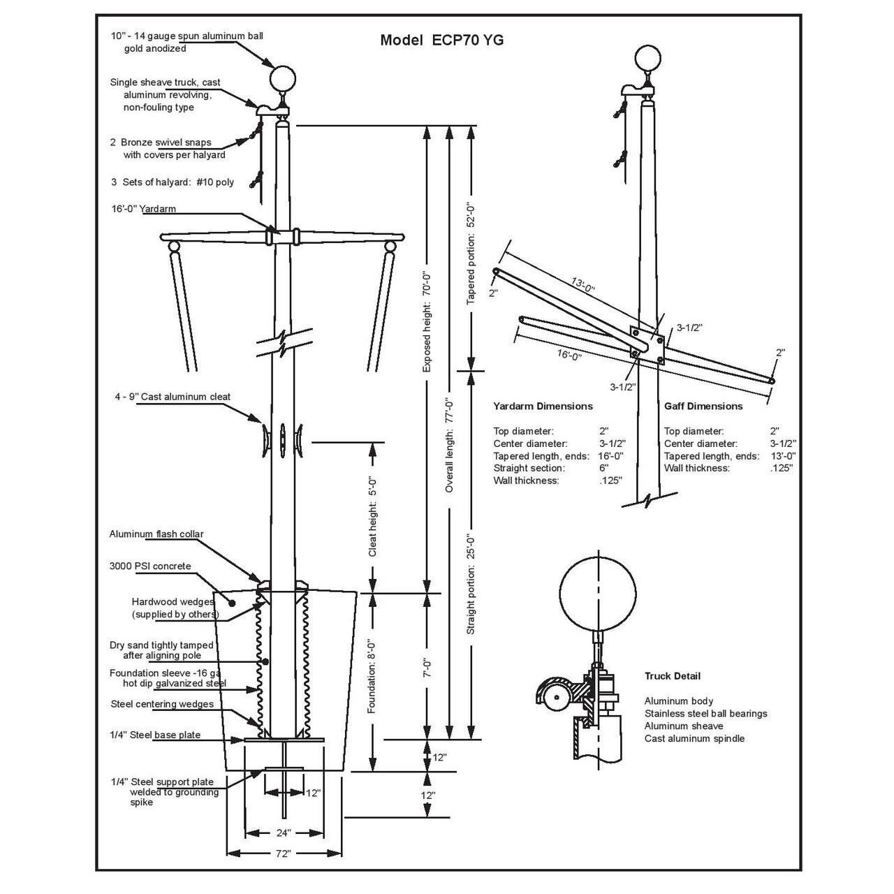 70 Nautical Flagpole w/ Yardarm, Gaff and Collar ECP70YG