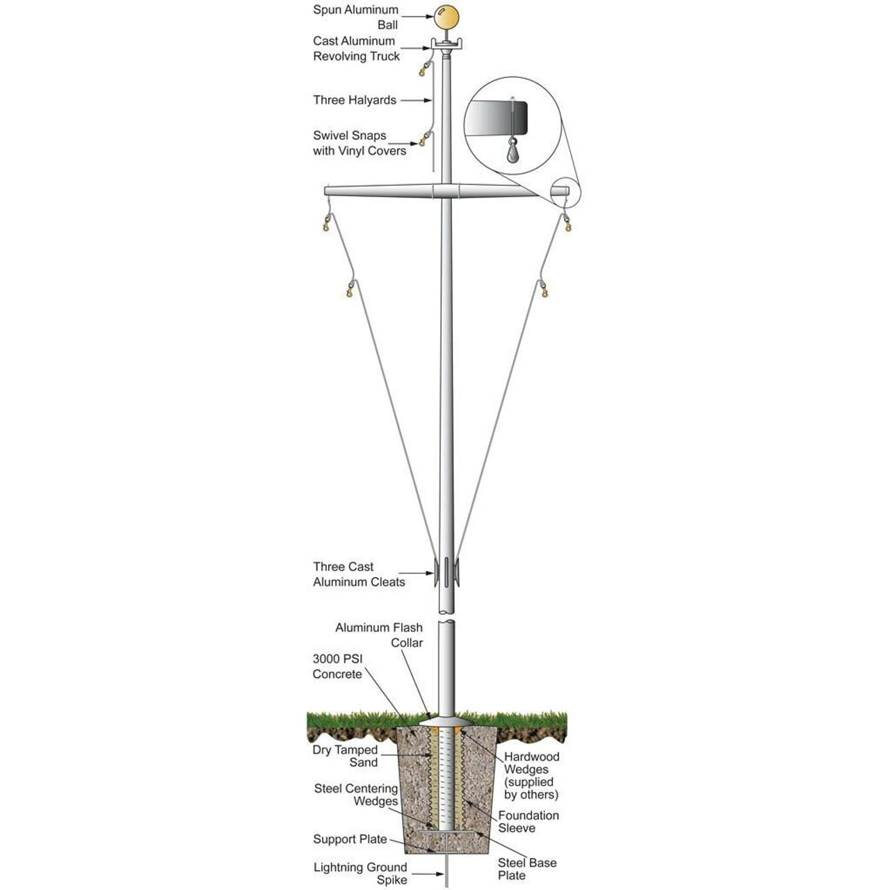 35' Nautical Flagpole w/ Yardarm & Collar (ECSAP35Y)