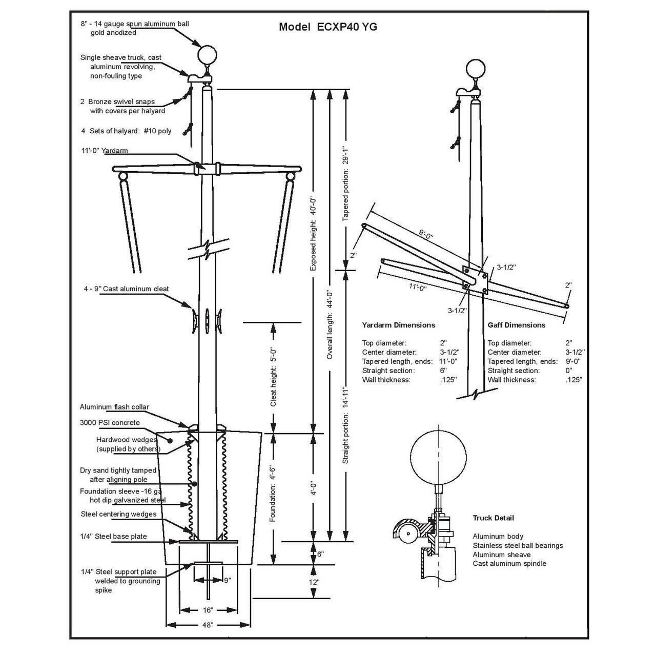 40' Nautical Flagpole w/ Yardarm, Gaff & Collar (ECXP40YG)