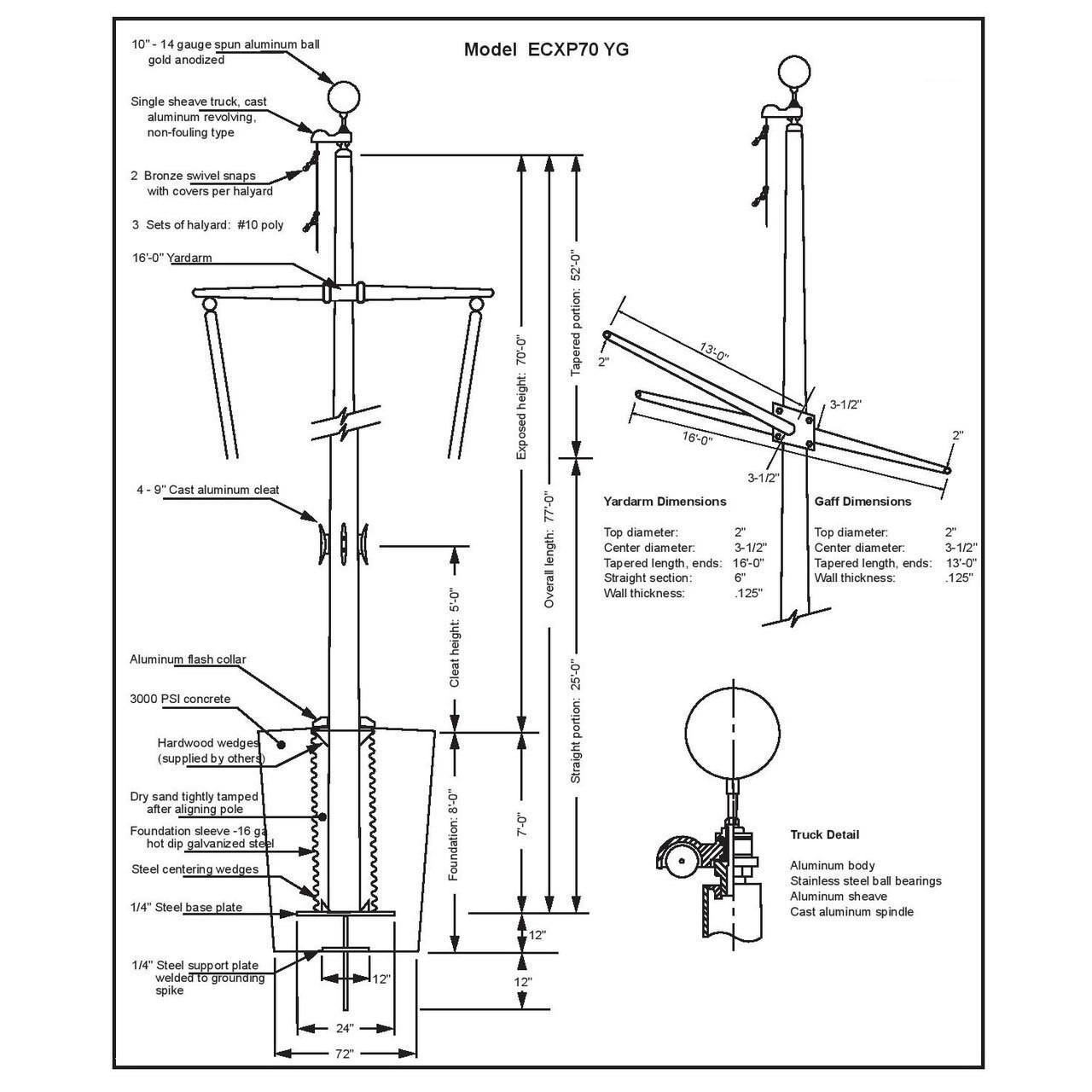 70 Nautical Flagpole w/ Yardarm, Gaff and Collar ECXP70YG