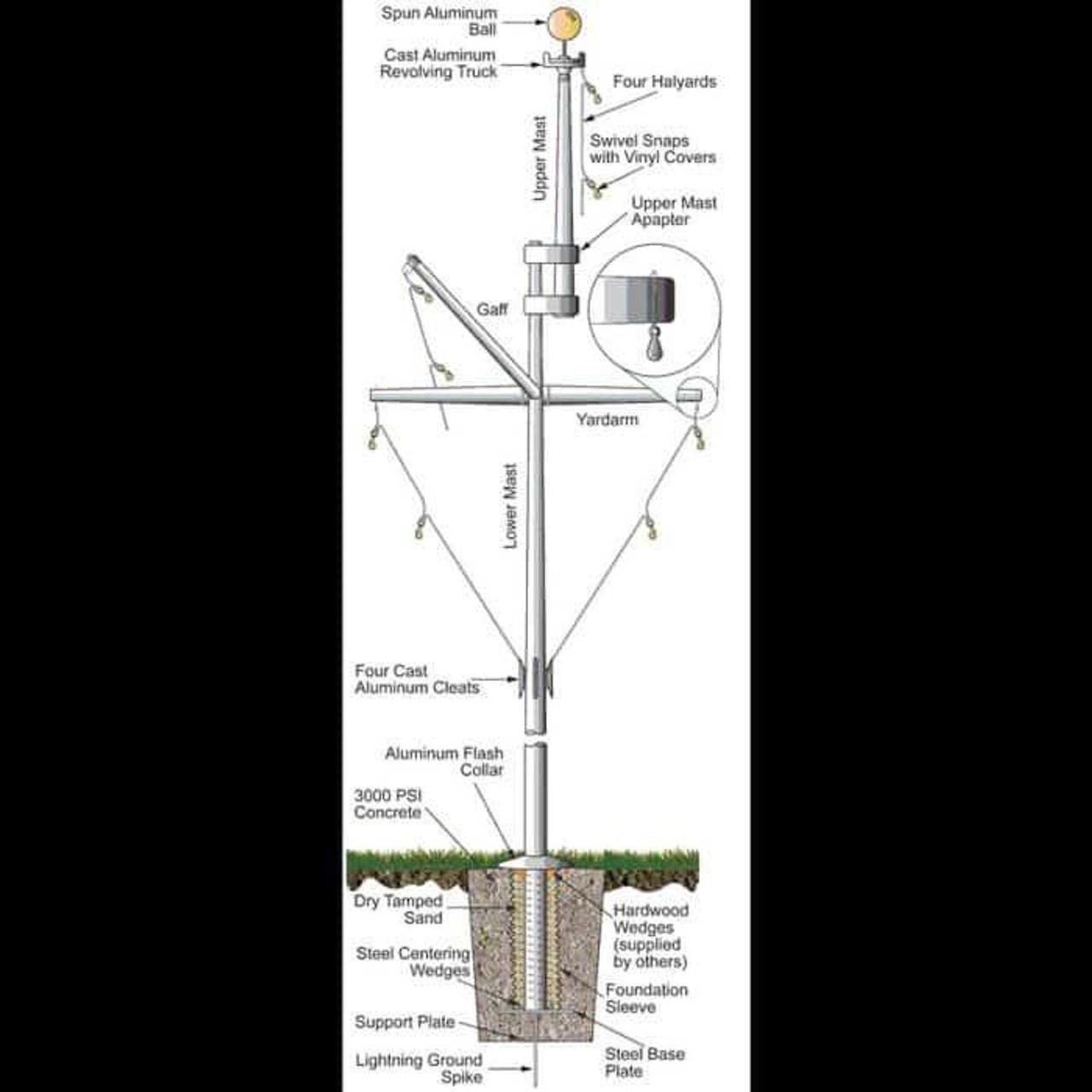 20 Double Mast Nautical Flagpole w/ Yardarm, Gaff and Collar ECPDM20