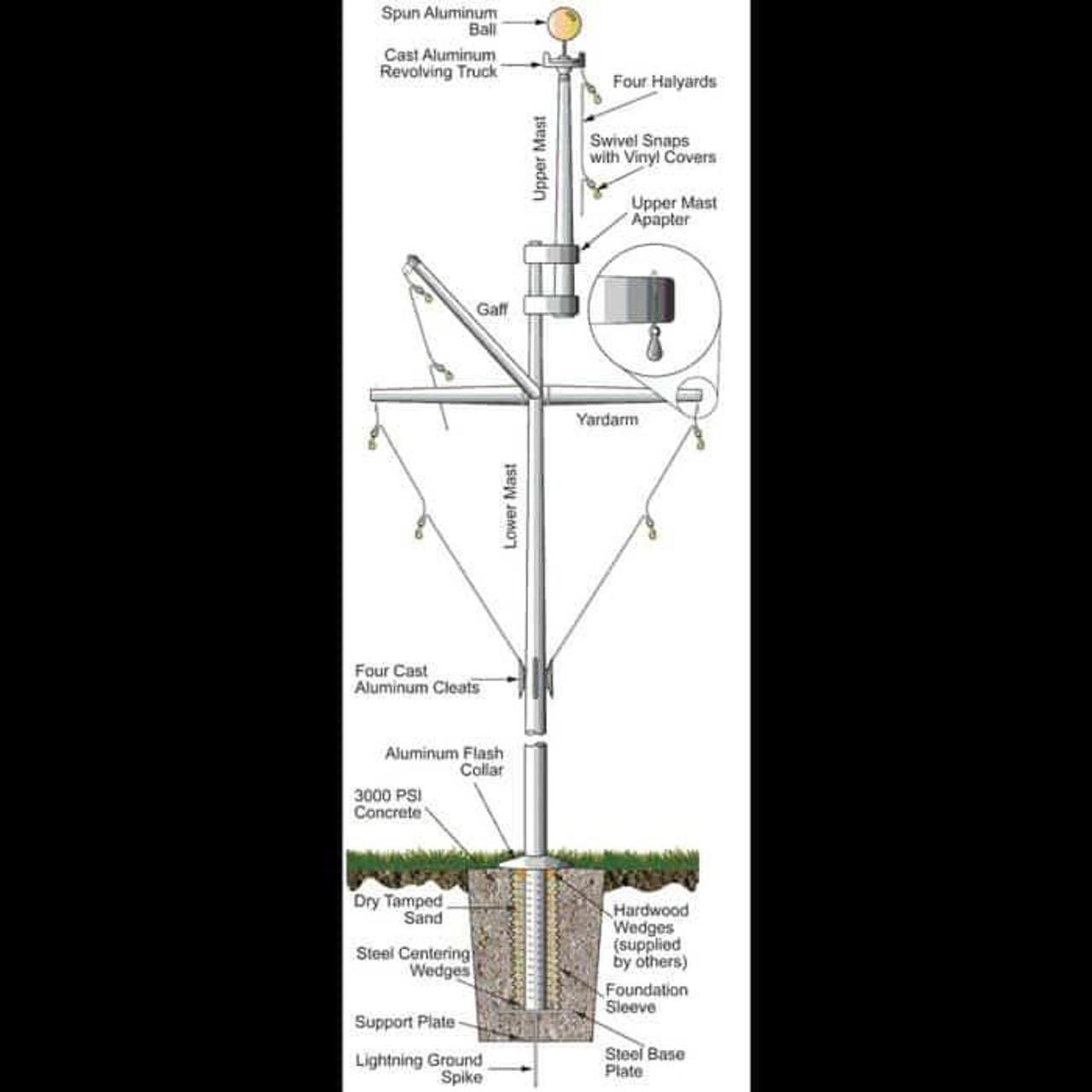 30 Double Mast Nautical Flagpole w/ Yardarm, Gaff and Collar ECPDM30