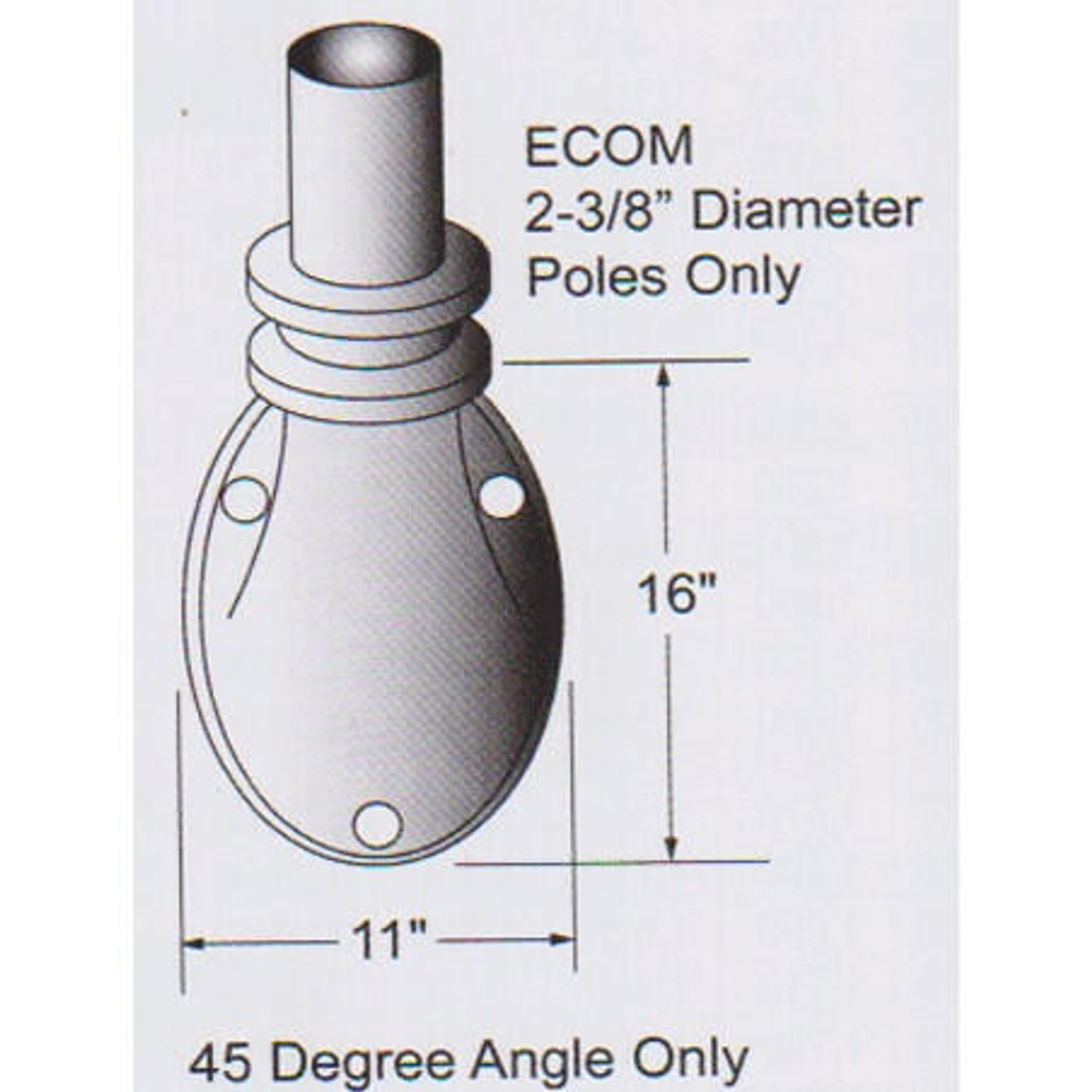 12 Tapered Wall Mounted Flagpole ECOM12 - Wall Mount