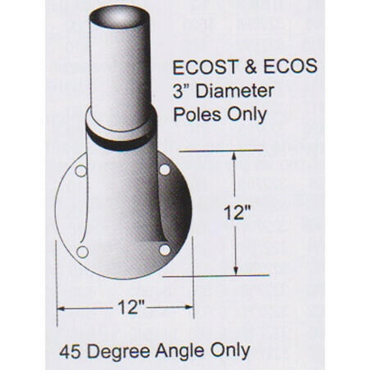 8 Non-Tapered Wall Mount for Flagpole ECOS8