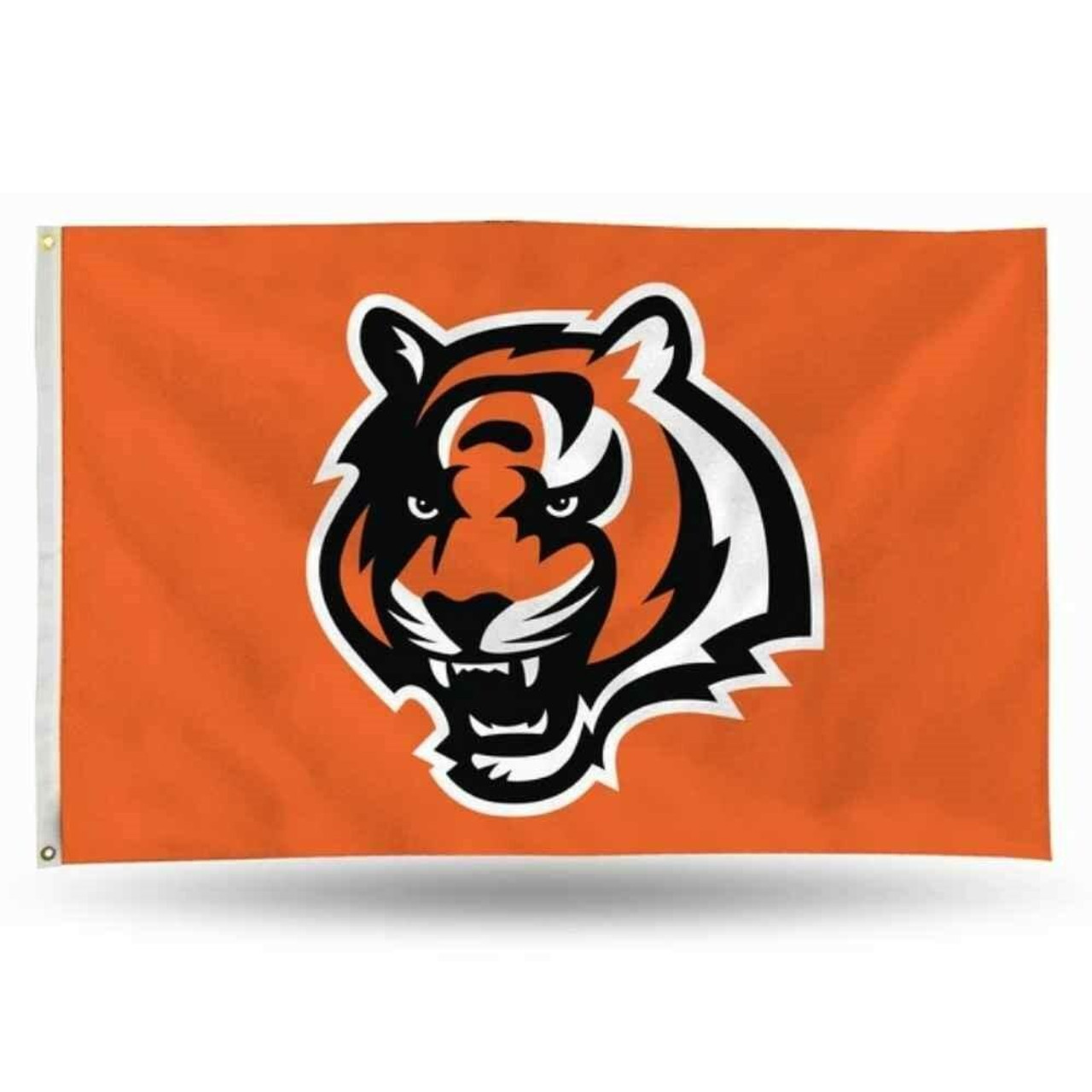 The Cincinnati Bengals flag has a bright orange background and a large bengal face in the center of the flag