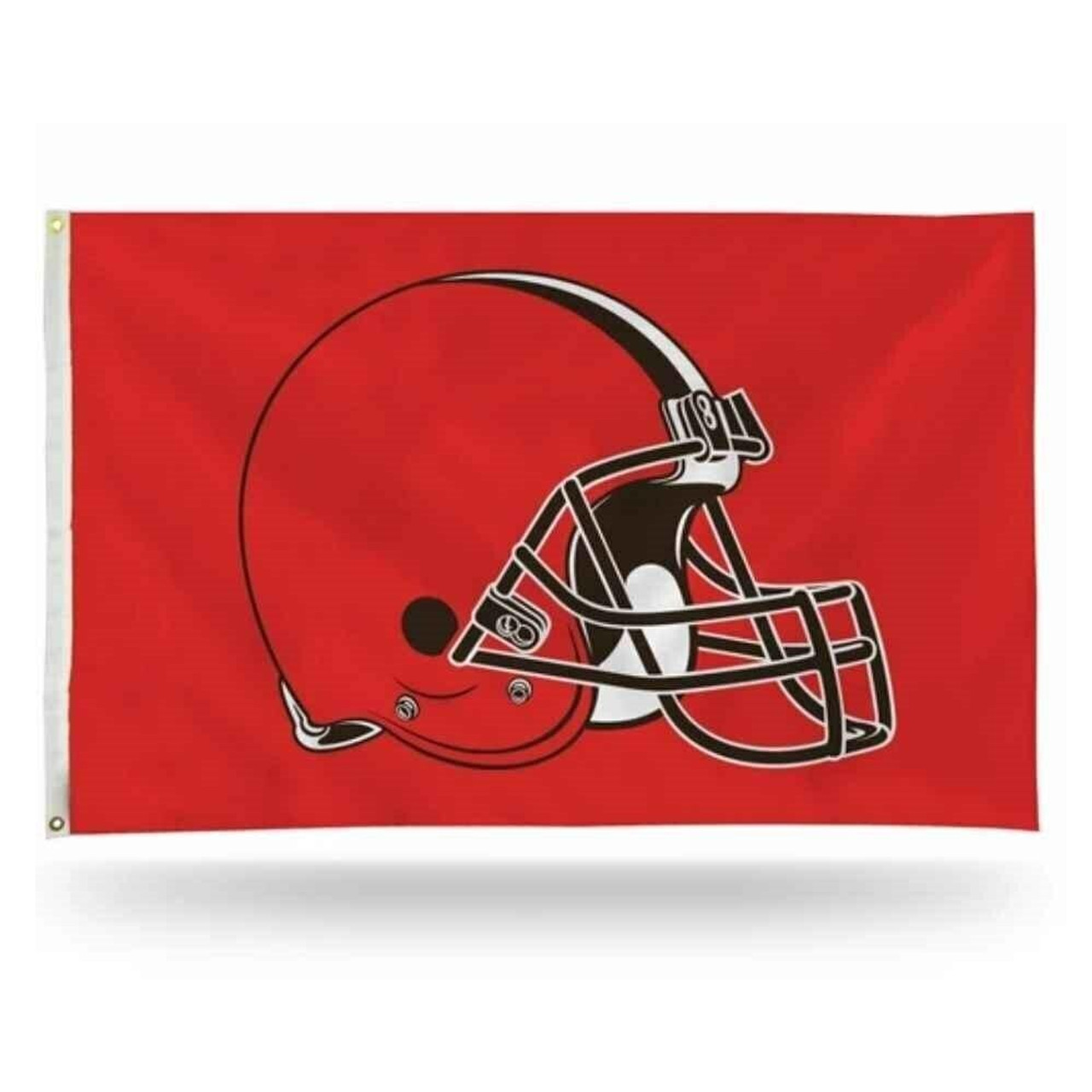 Red background with a red helmet outlined in black