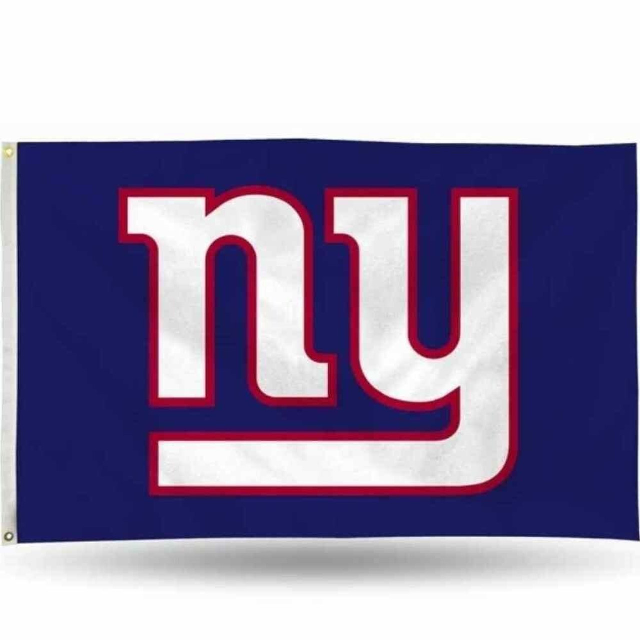 The New York Giants flag has a navy background with NY in white letters outlined in red.