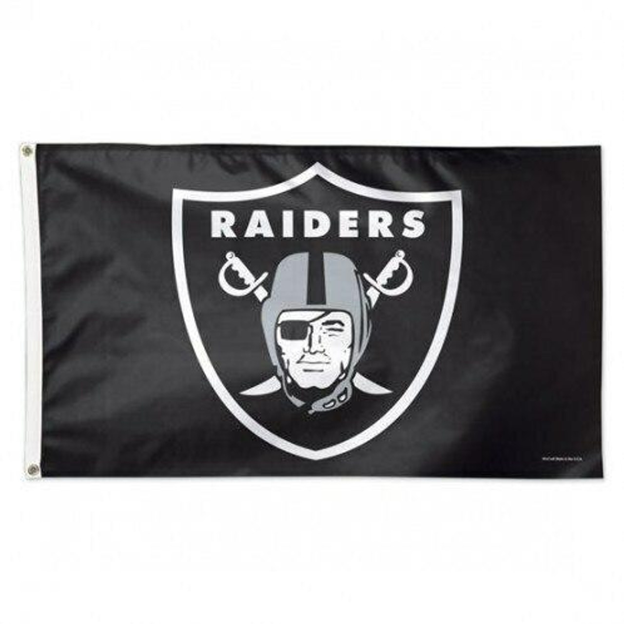 Black background with gray and white raiders logo