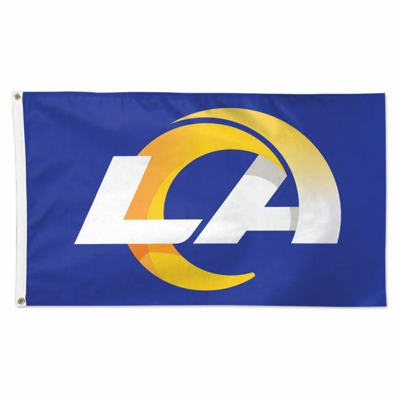This flag has a bluish purple background with white LA and a yellow ram from the A