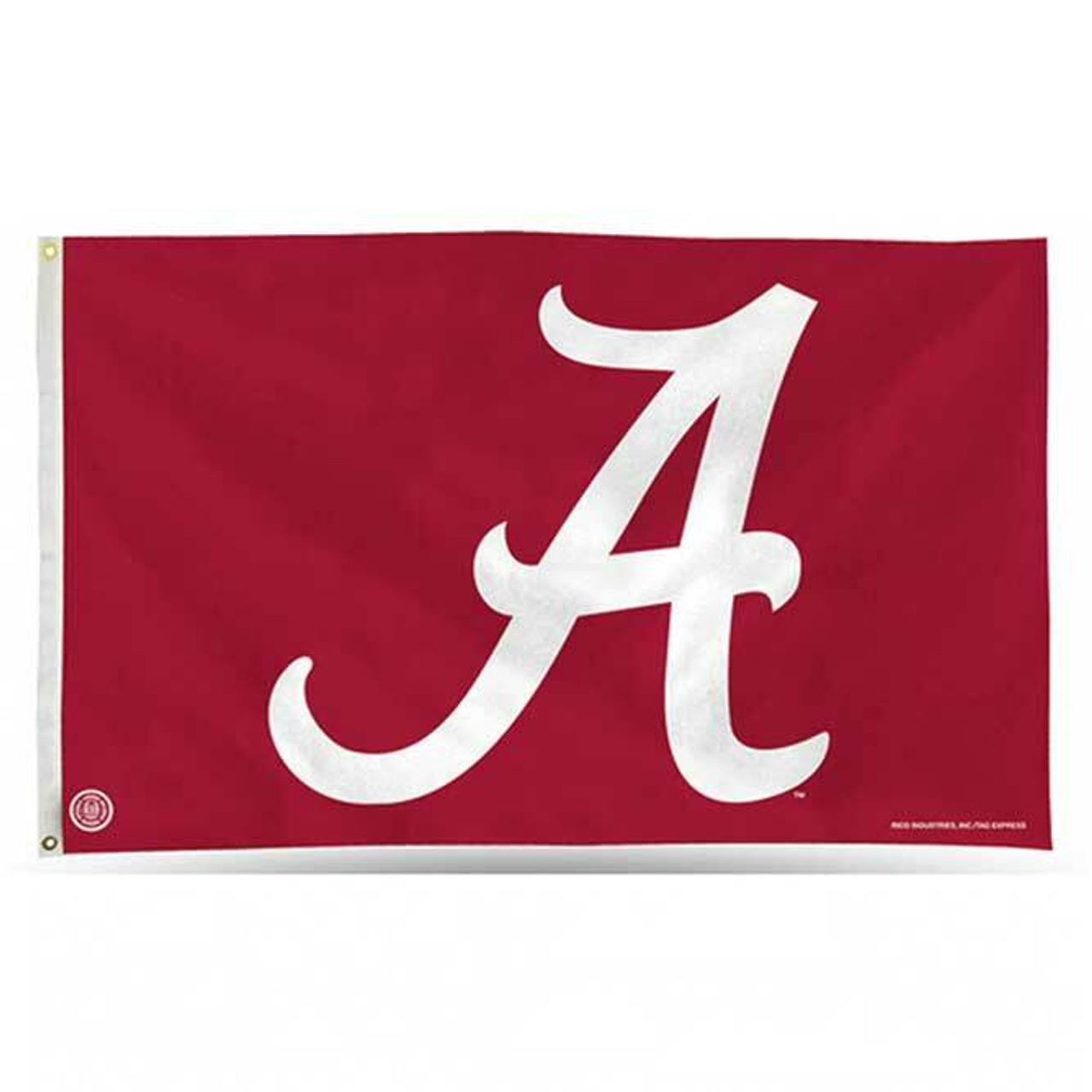 The University of Alabama flag is a crimson rectangle with a large white 'A' in a customized serif font. The flag comes with a white header and brass grommets.