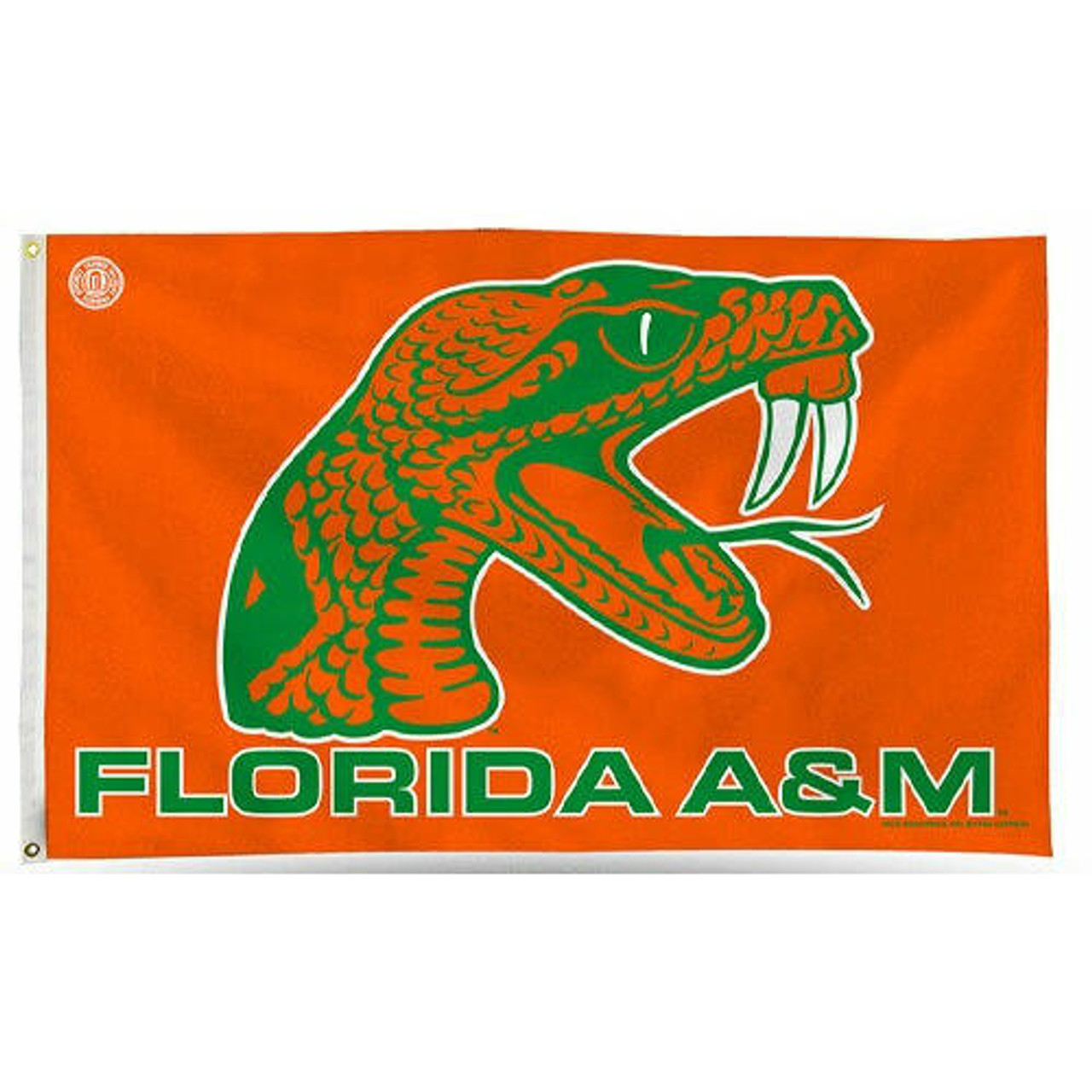 Florida A & M University Flag with orange and green rattler mascot in center and green Florida A&M text at bottom center below mascot.  Orange background.