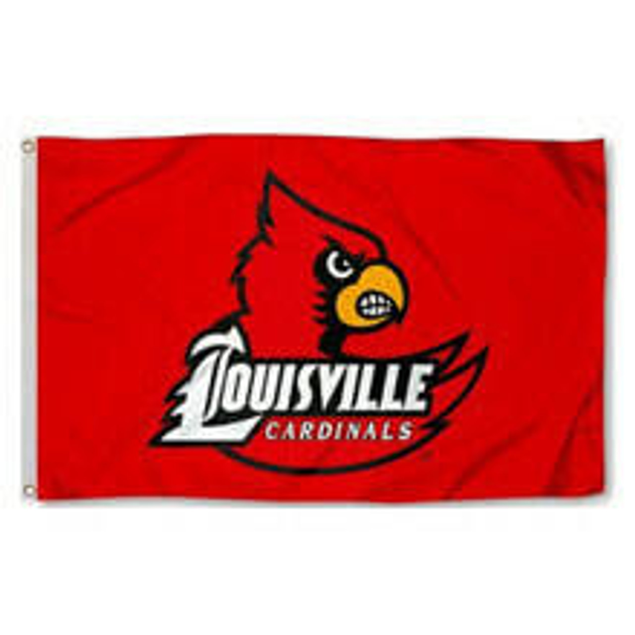 A red flag with a cardinal mascot of Louisville University with the text Louisville Cardinals written in white on its wing.