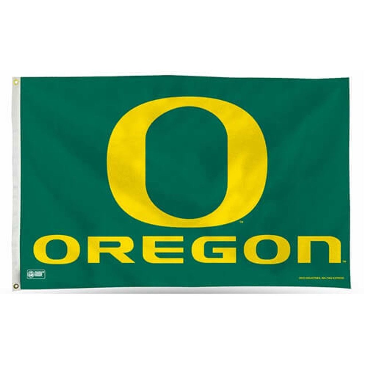 University of Oregon Flag with white canvas header and brass grommets. Green flag with letter O at center in yellow and 'Oregon' text below it.