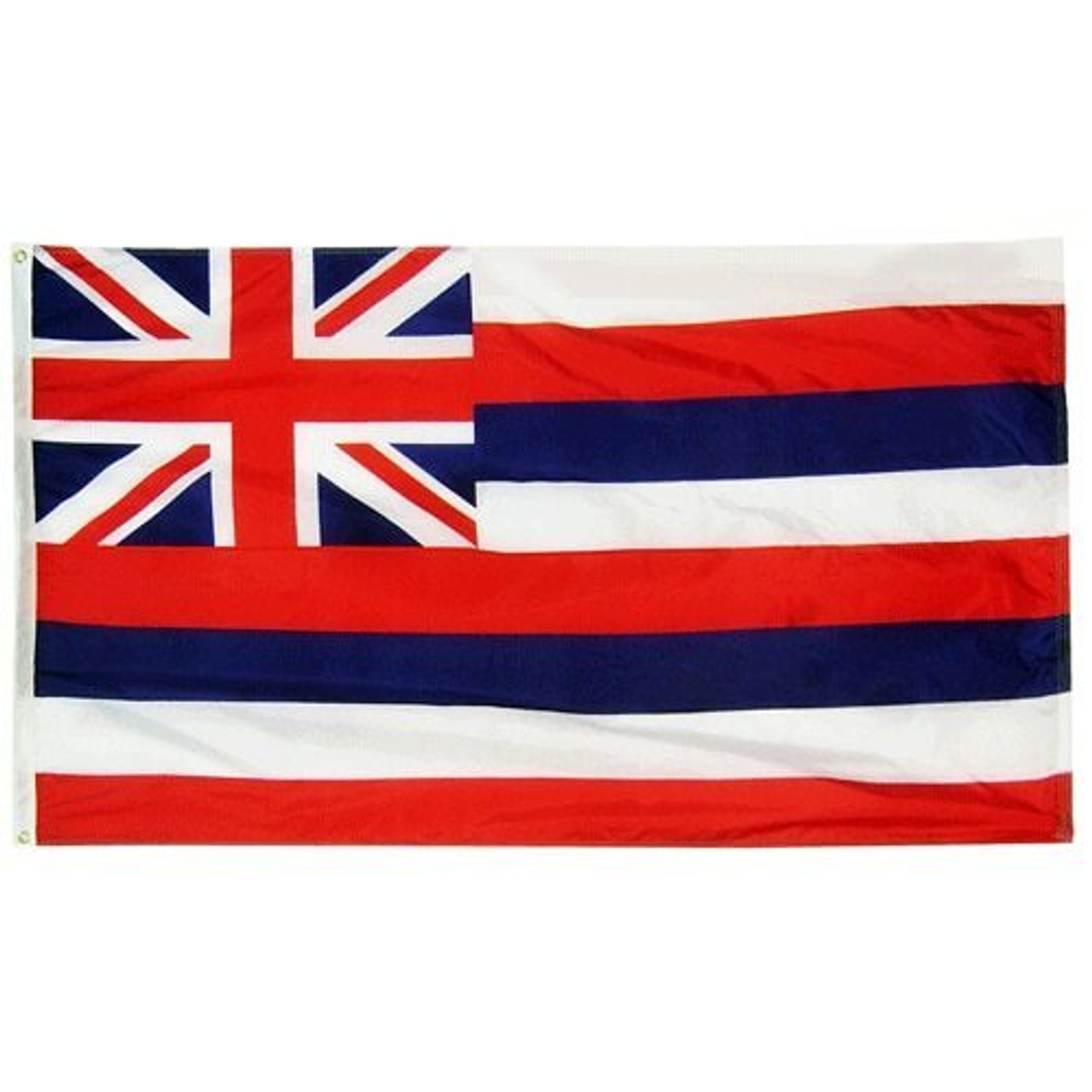 """The Hawai'i Flag is a rectangular flag with a white canvas header and brass grommets. The flag includes the Union Jack of the United Kingdom in the upper lefthand corner. The Union Jack is a red cross outlined in white with a red """"x"""" behind the cross that is also outlined in white. The background behind the cross and """"x"""" is navy. The rest of the Hawai'i flag consists of eight stripes that alternate colors of white, red, and navy."""