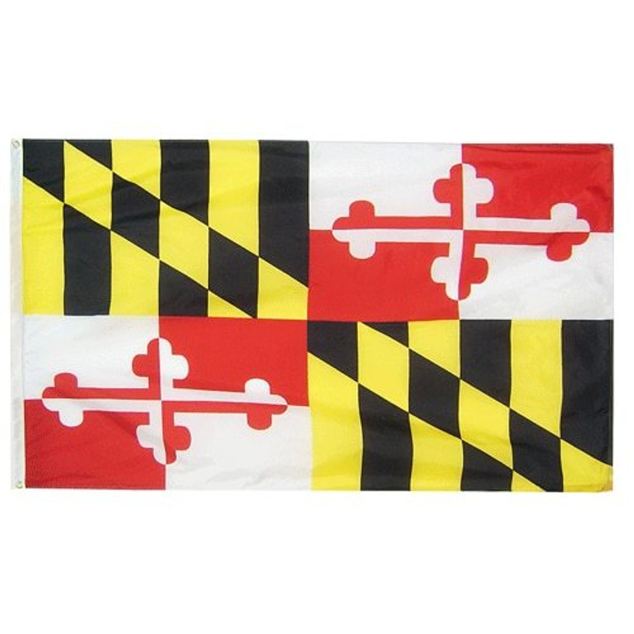 The Maryland Flag is rectangular with a white canvas header and brass grommets. The flag is split into four sections. The top-left and lower-right sections are divided into six vertical gold and black stripes with a right diagonal band counter-changing the colors. Within the diagonal band, the colors are reversed. The top-right and lower-left sections are quartered white and red. A white background is displayed in the top-left and lower-right quadrant, and red in the upper-right and lower-left quadrant. They included a cross bottony counterchanged so the opposing color or either red or white colors in the bottony. The bottony is red in the upper-left and lower-right quarters, and white in the upper-right and lower-left corners.