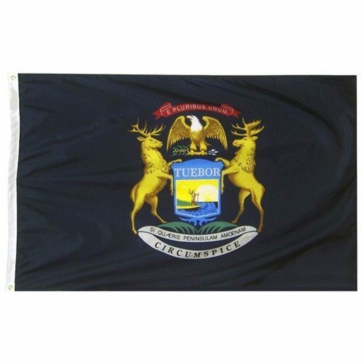 """The Michigan flag consists of the coat of arms of Michigan on a blue field. The coat of arms' dark blue shield features the Sun rising over a lake and peninsula and a man holding a long gun with a raised hand, representing peace and the ability to defend his rights. The brown elk and moose are symbols of Michigan, while the bald eagle represents the United States.  The design features three Latin mottos. From top to bottom they are:  On the red ribbon: E Pluribus Unum, """"Out of many, one,"""" a motto of the United States On the blue shield: Tuebor, """"I will defend"""" On the white ribbon: """"Si Quæris Peninsulam Amœnam Circumspice, """"If you seek a pleasant peninsula, look about you,"""" which is the official state motto.   On the left edge of the flag is a durable canvas header with brass grommets for attaching to flagpoles."""