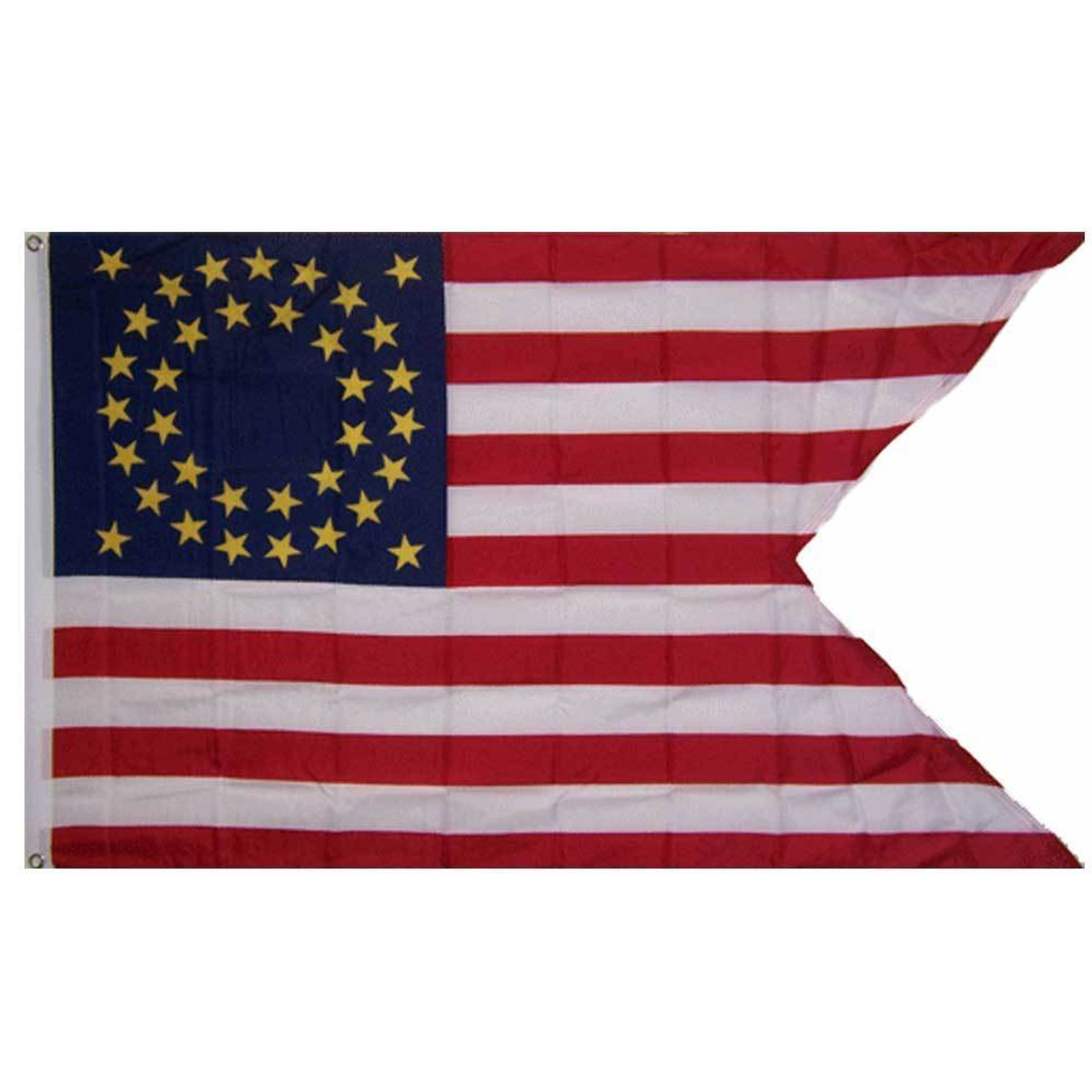 The Cavalry Guidon flag is based on the American flag, with a blue field in the top left corner, with 13 alternating red and white stripes. Major differences are: a large triangle cut horizontally out of the right side of the flag, known as a swallow-tail, and the 35 stars in the blue field are yellow and arranged in two concentric circles with one star in each of the four corners of the rectangular blue field. On the left edge of the flag is a header with rust-proof grommets for raising on a flagpole.